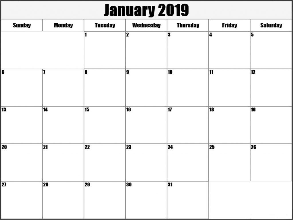 Blank January 2019 Calendar Landscape