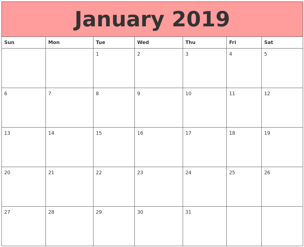 Blank January 2019 Calendar Pink