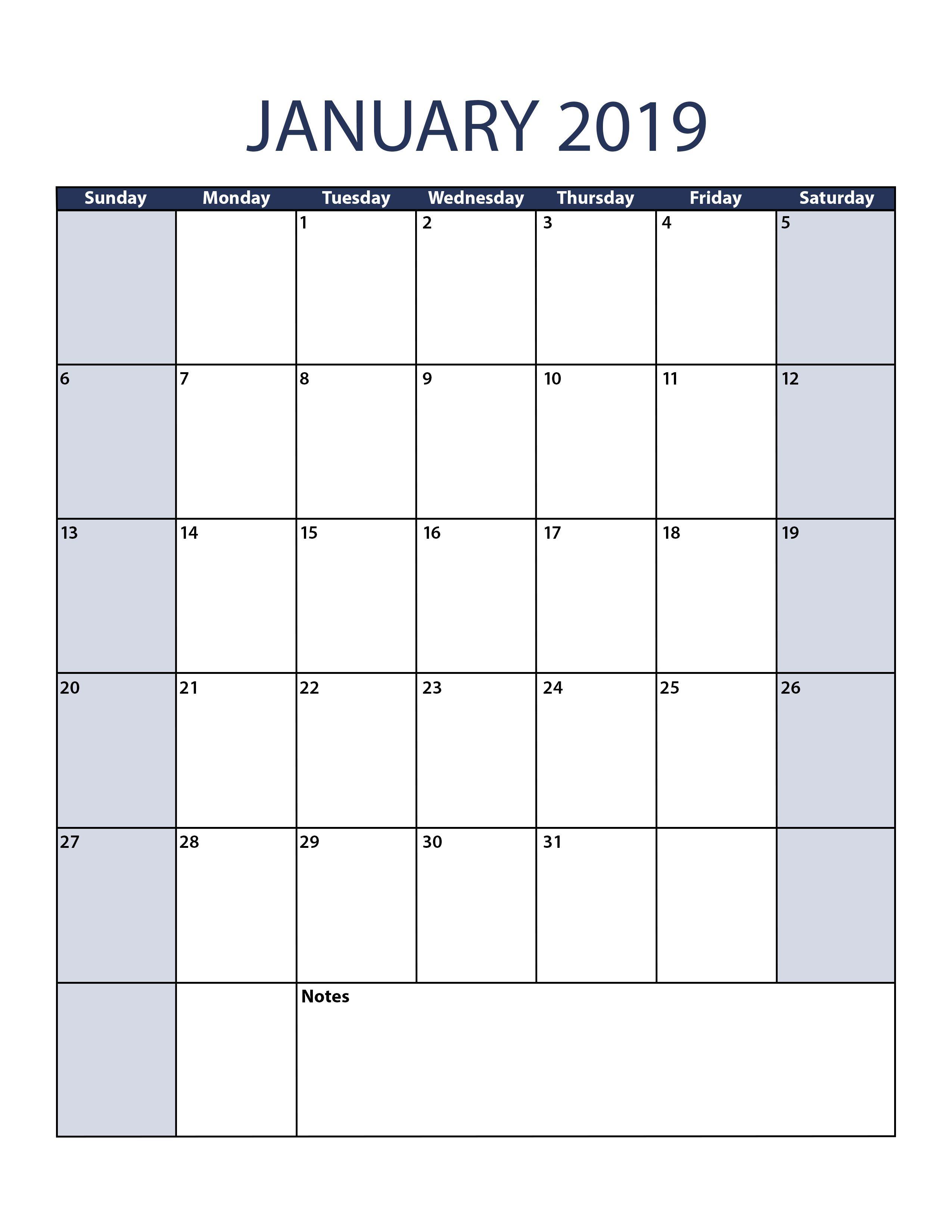 Blank January 2019 Calendar Printable