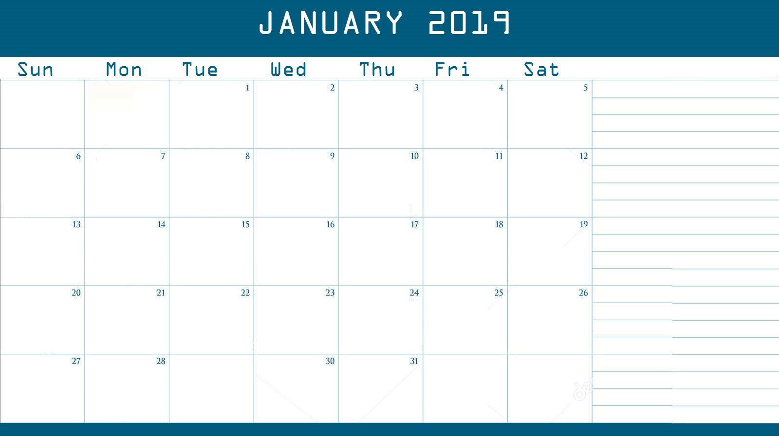 Blank January 2019 Desk Calendar