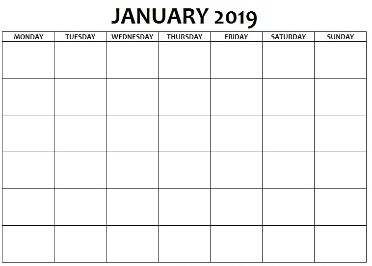Blank Calendar January 2019 Monday to Sunday
