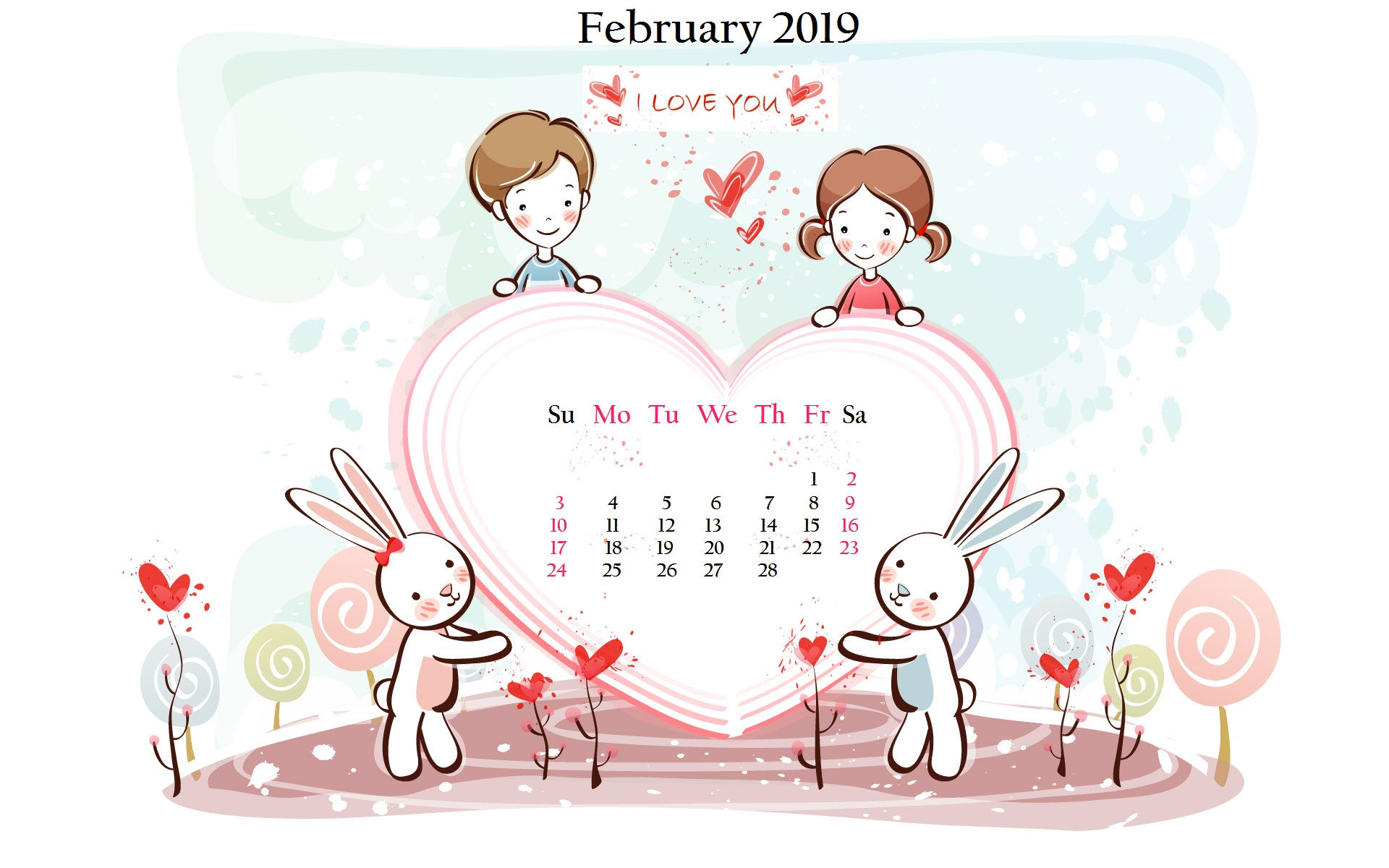 Cartoon Wallpaper February 2019 Desktop Calendar