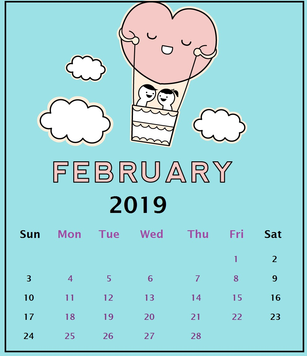 Cloudy Background February 2019 iPhone Calendar