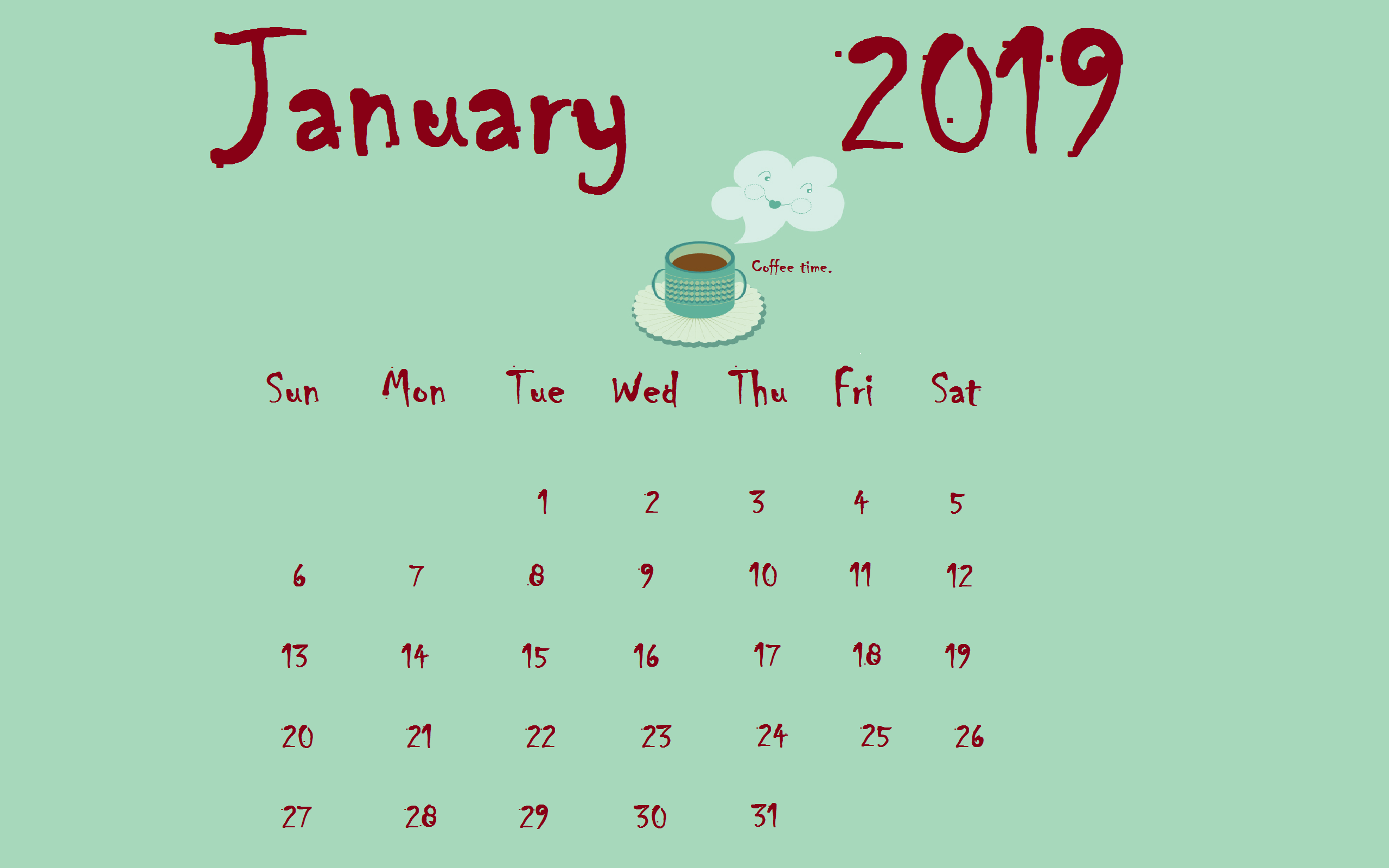 Coffee January 2019 Desktop Calendar
