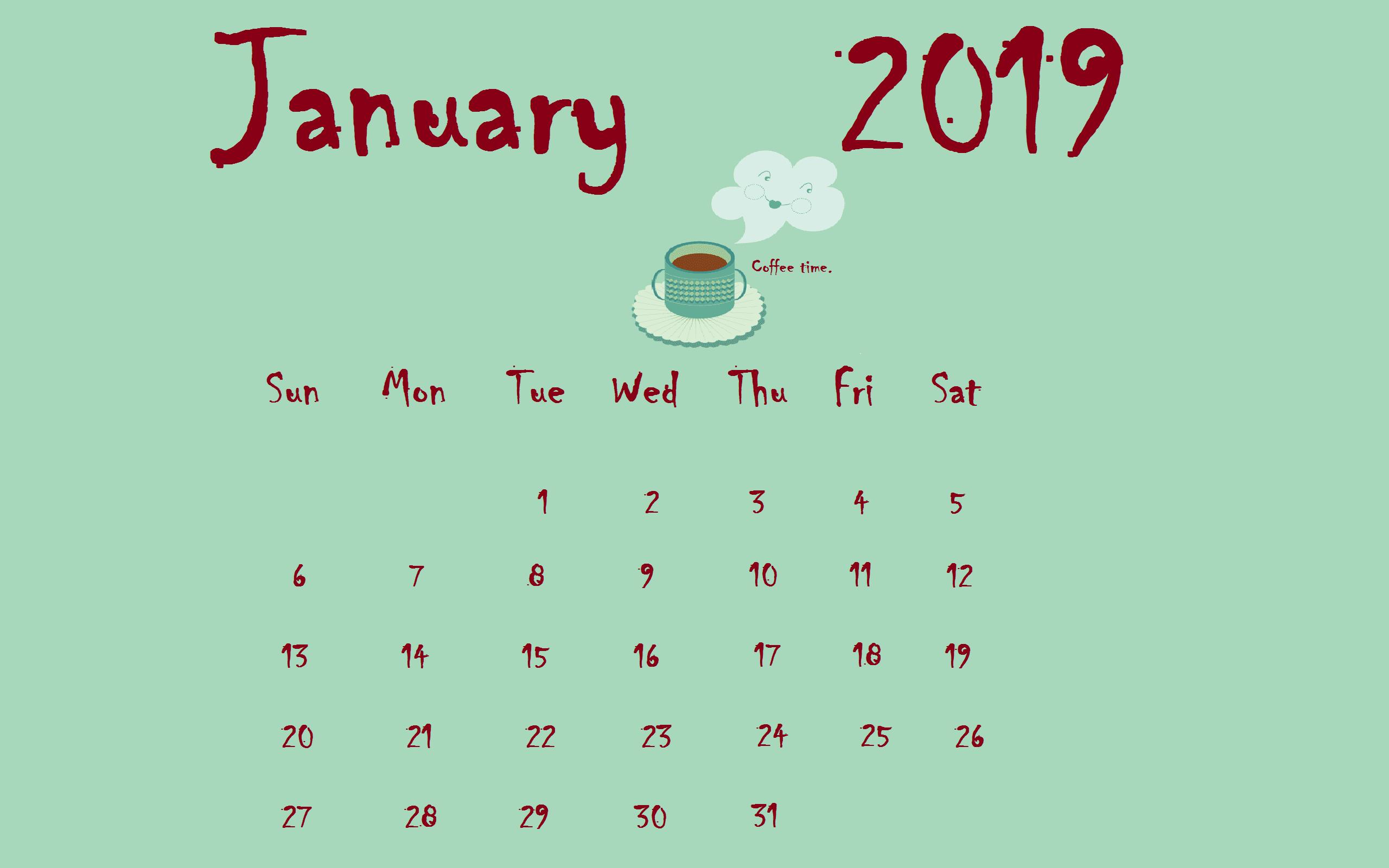 Coffee January 2019 Desktop Calendar