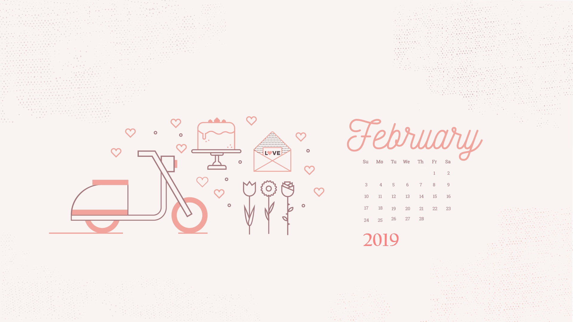 Cute February 2019 Desktop Calendar