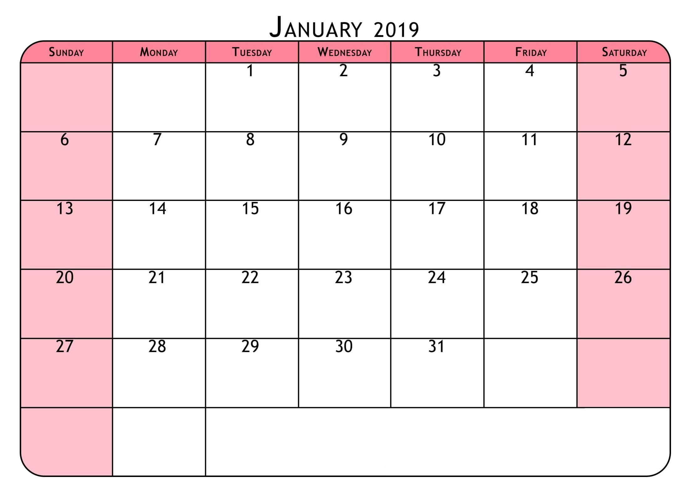 Cute January 2019 Calendar Pink