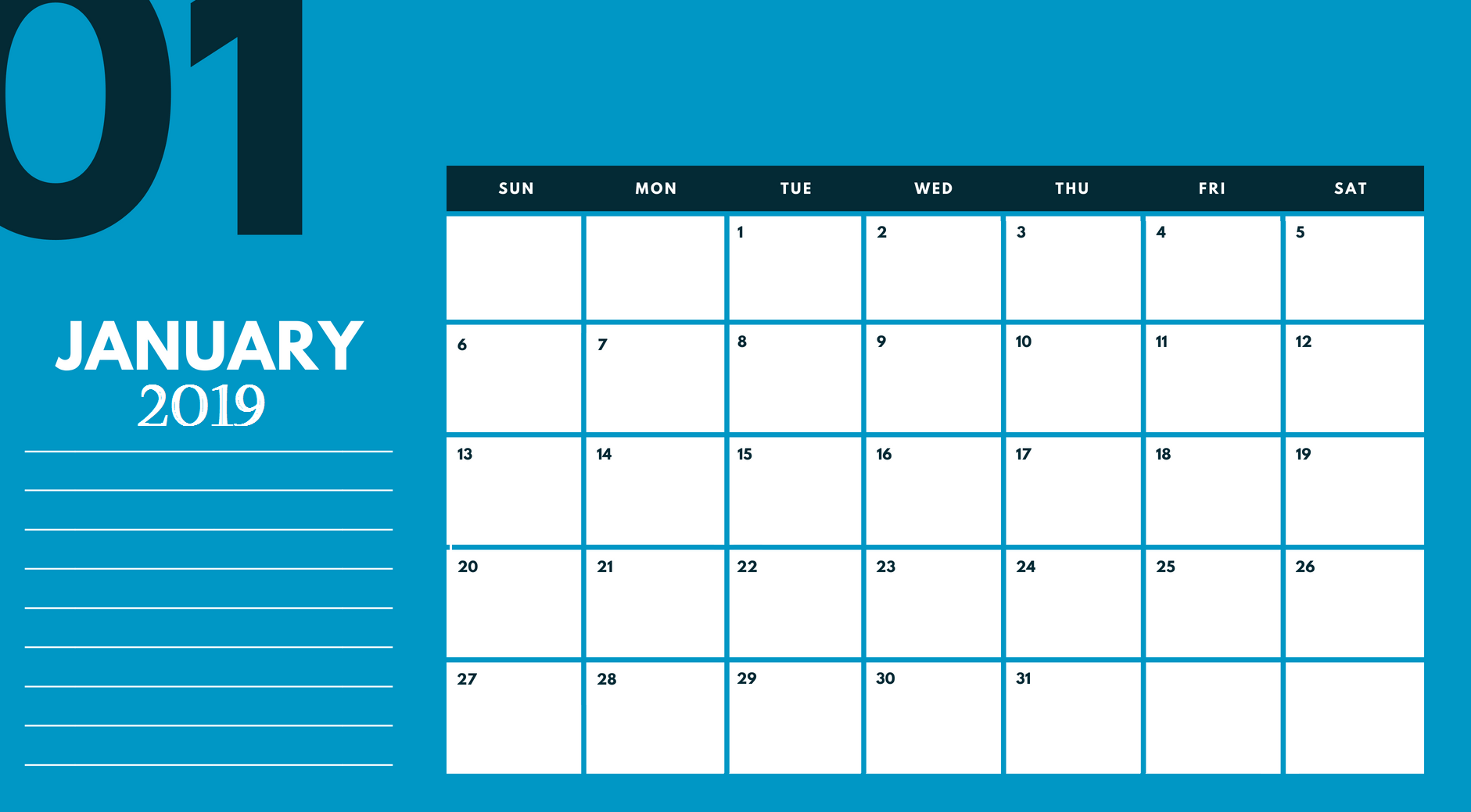 Cute January 2019 Calendar Template