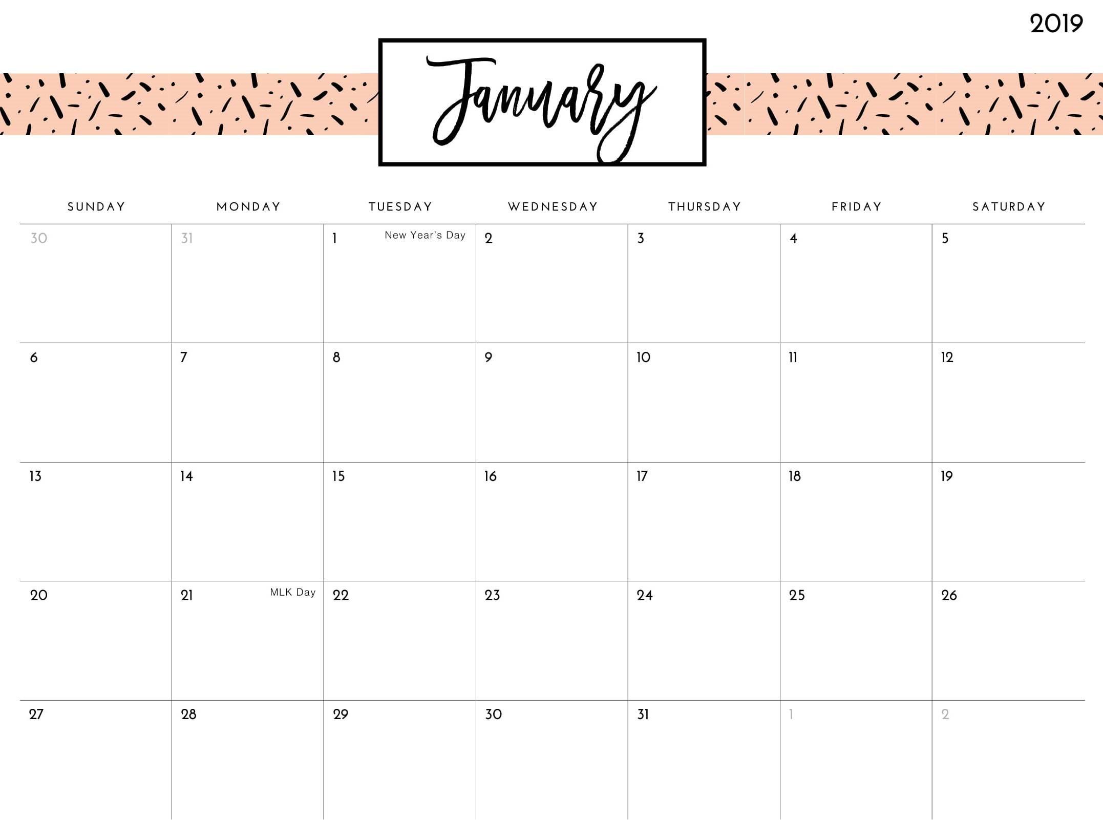 cute january 2019 calendar printable