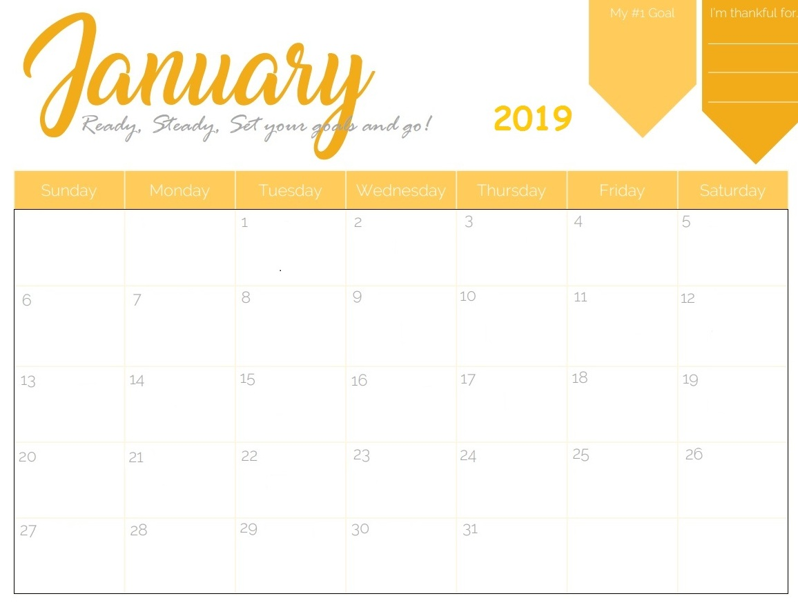 Cute January 2019 Wall Calendar Design