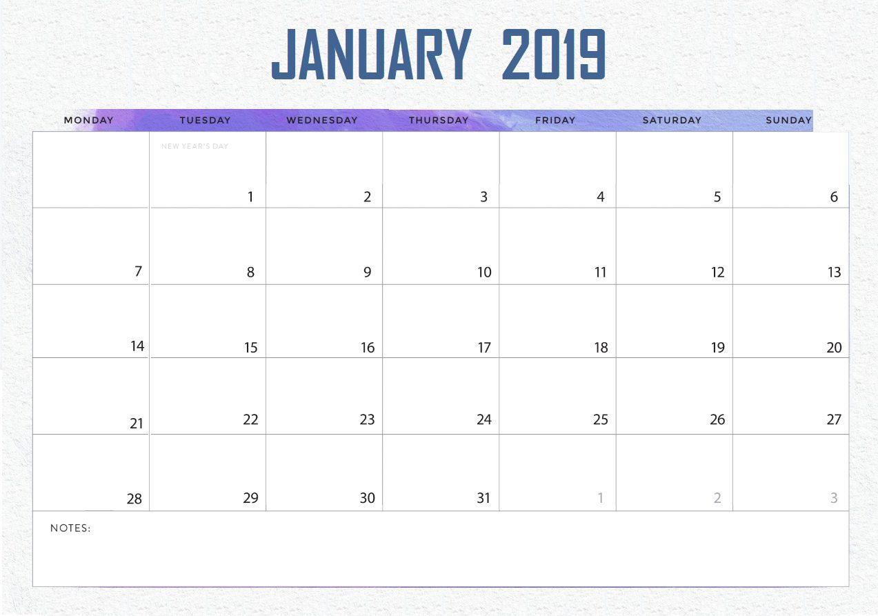 Cute January Calendar
