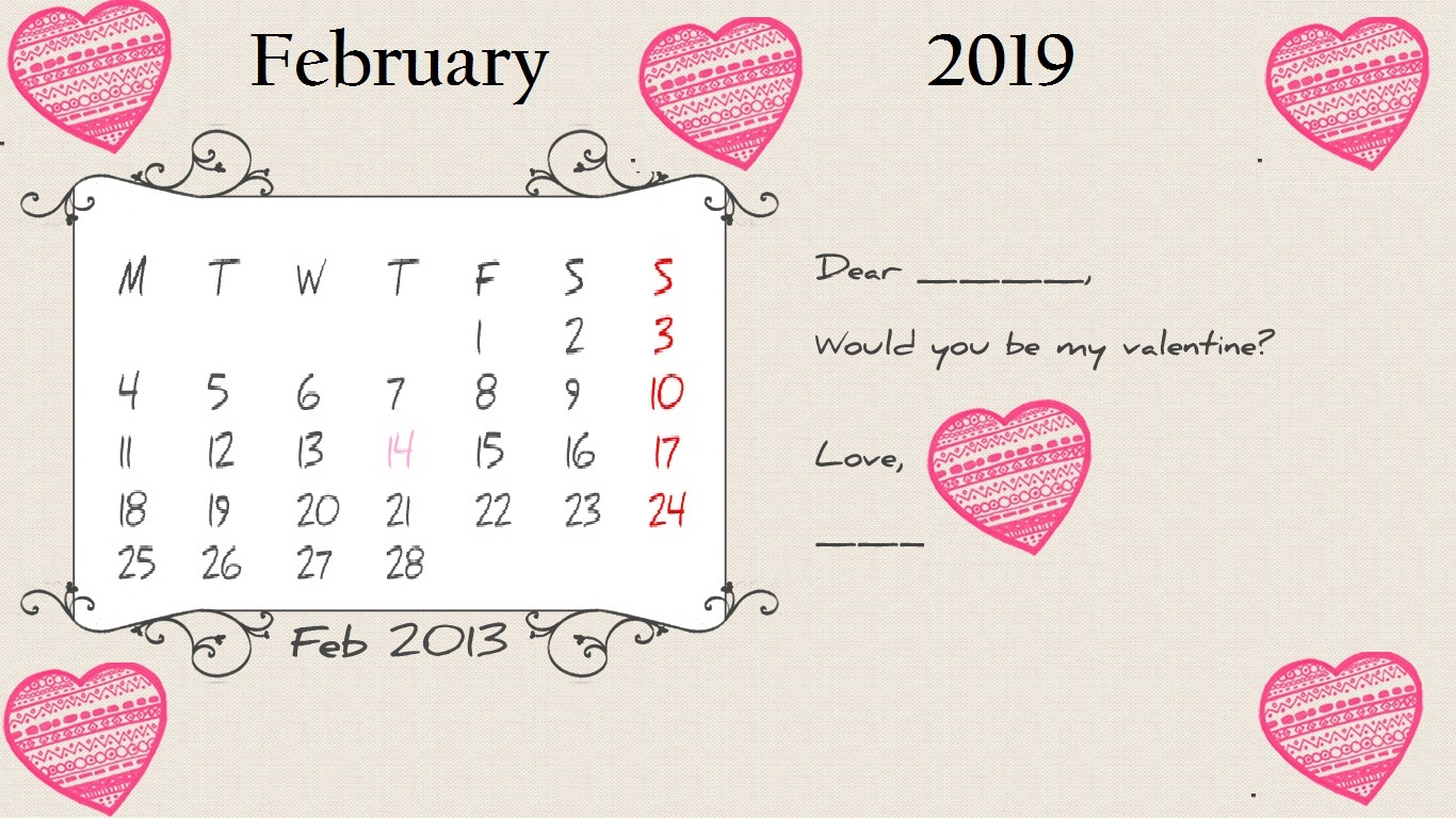 Dear love February 2019 Desktop Calendar