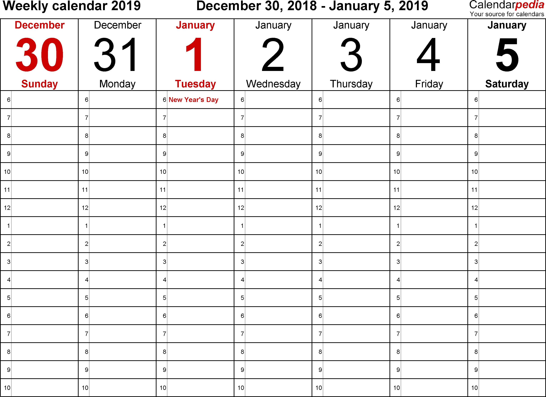 December 2018 January 2019 Calendar Excel