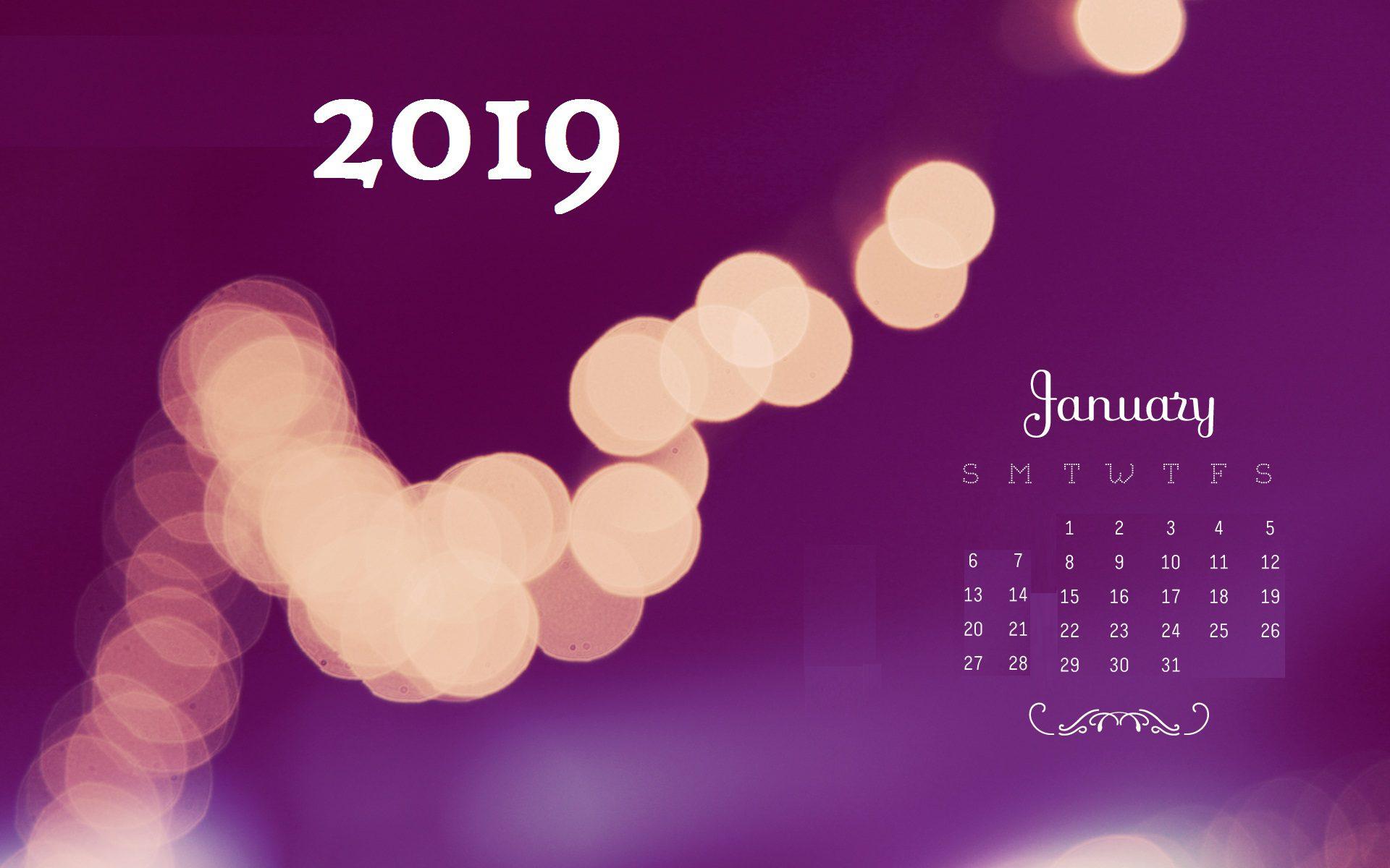 Desktop Wallpaper January 2019 Calendar