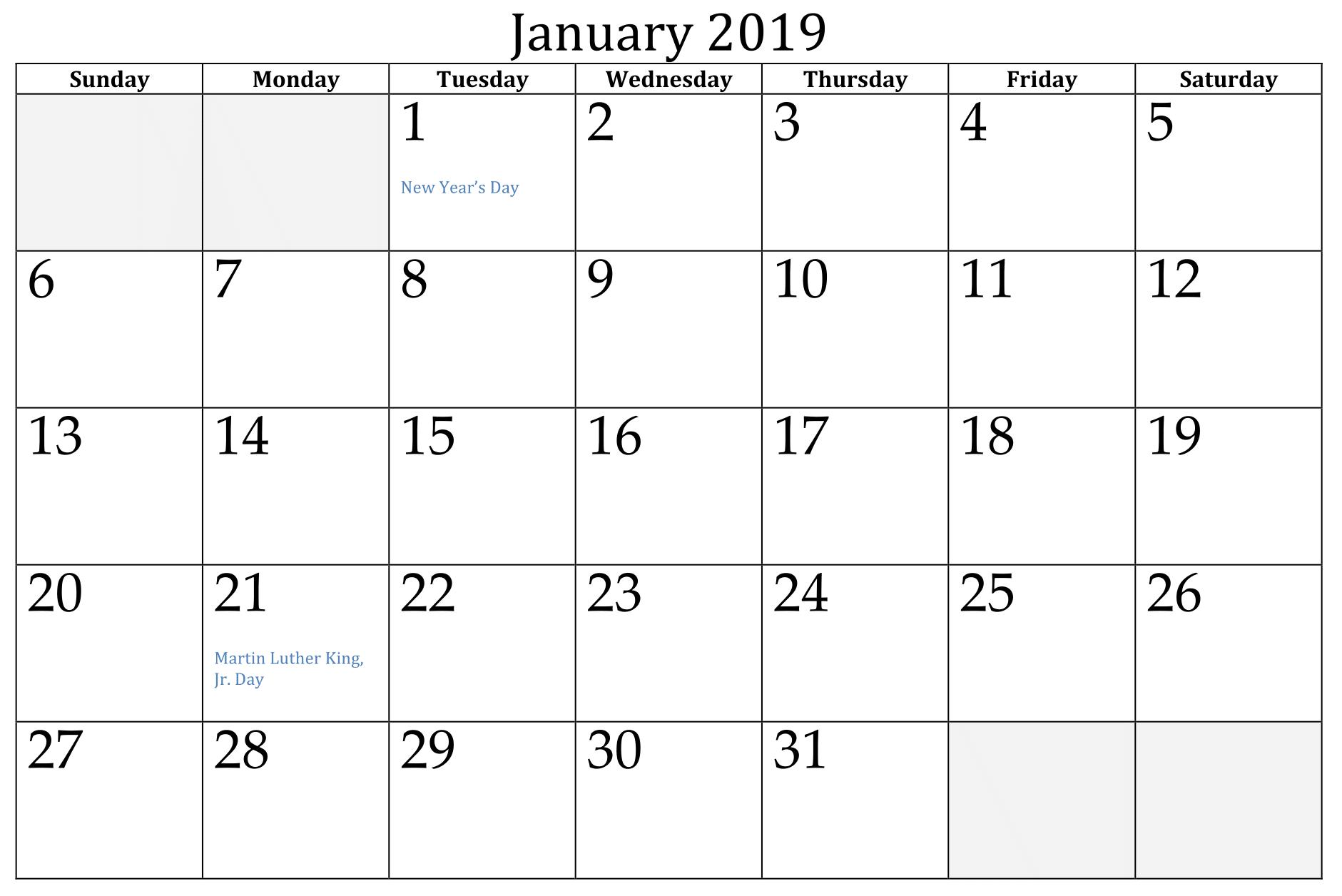 Editable January 2019 Calendar Free Printable
