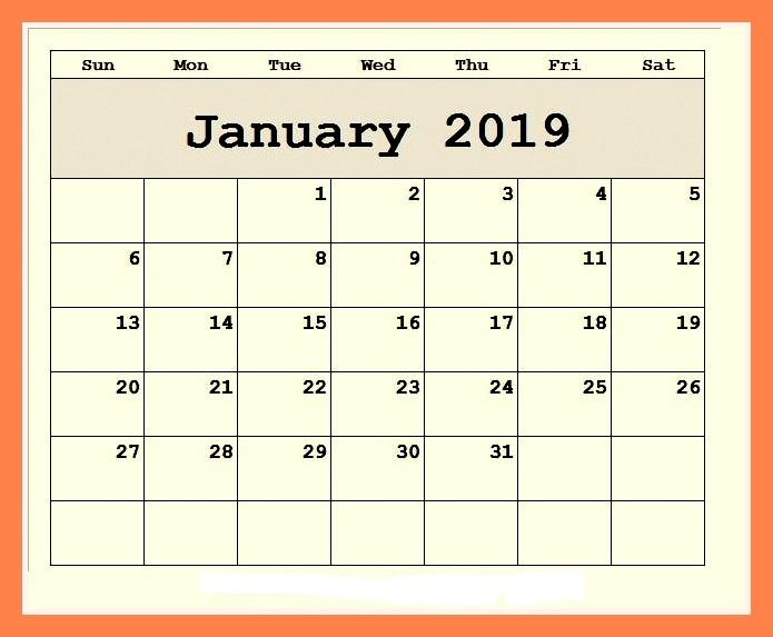 Editable Printable January 2019 Calendar