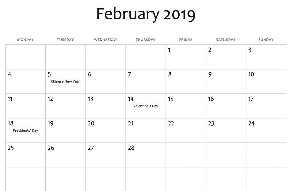 February 2019 Calendar with Holidays Canada