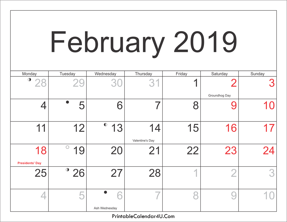 February 2019 Calendar with Holidays and Moon Phases