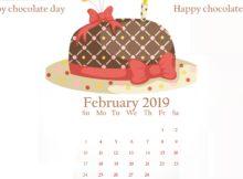 February 2019 Chocolate day Desktop Calendar