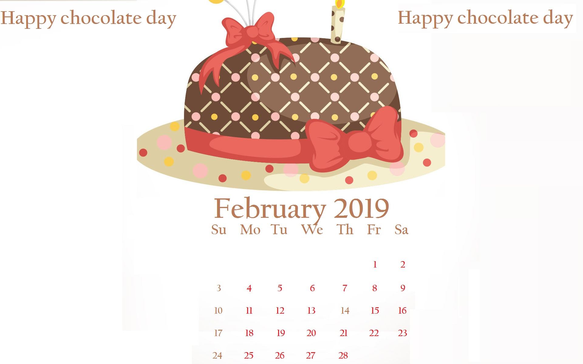 February 2019 Chocolate day Desktop Calendar