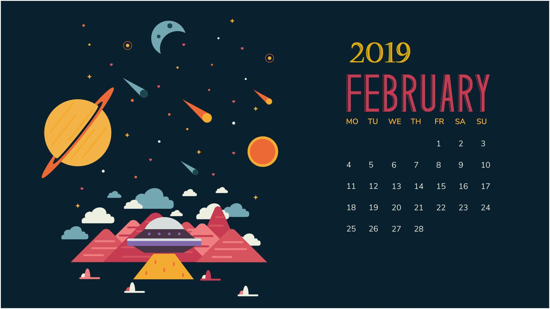 February 2019 Desktop Calendar