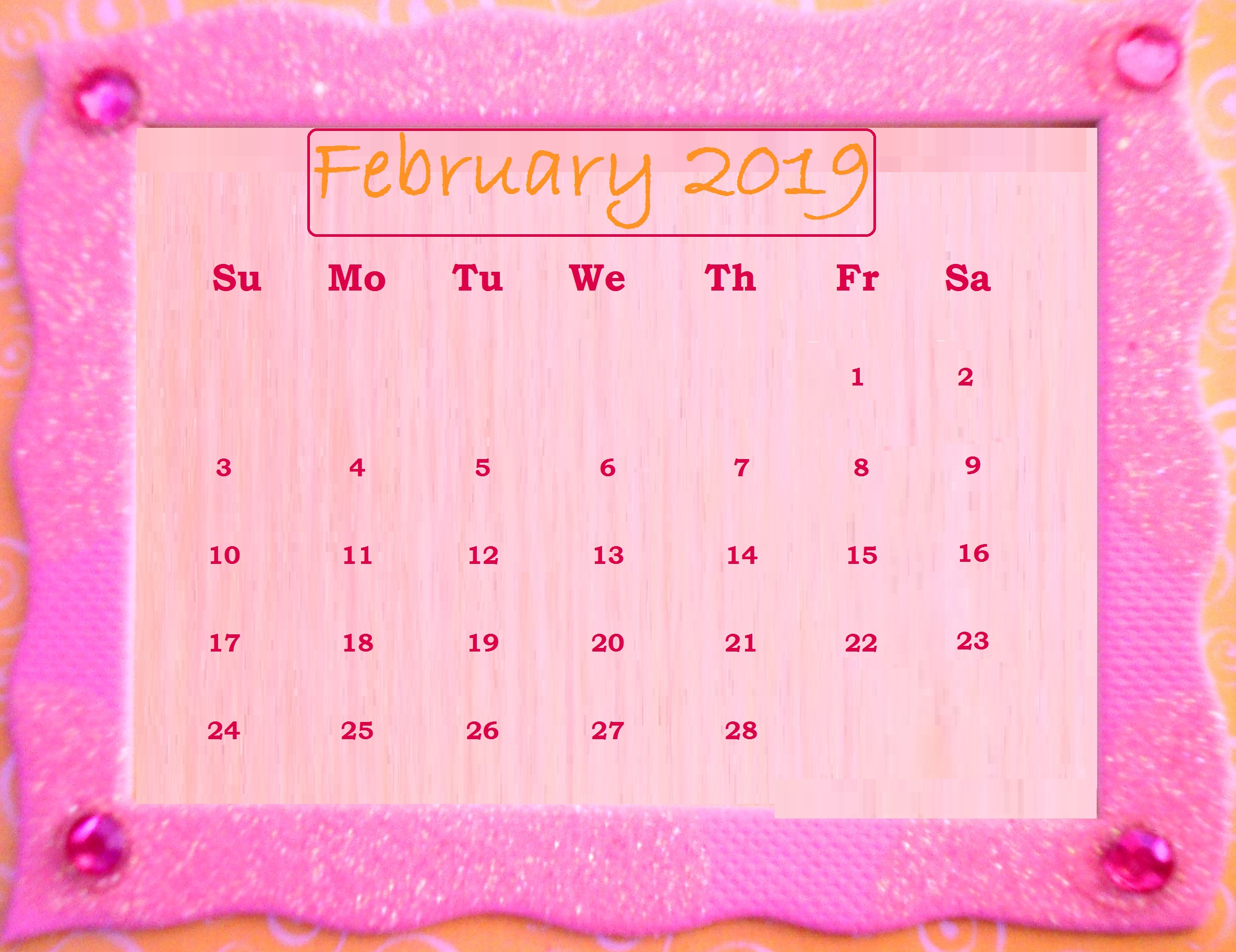 February 2019 Friendship day Desktop Calendar Wallpaper