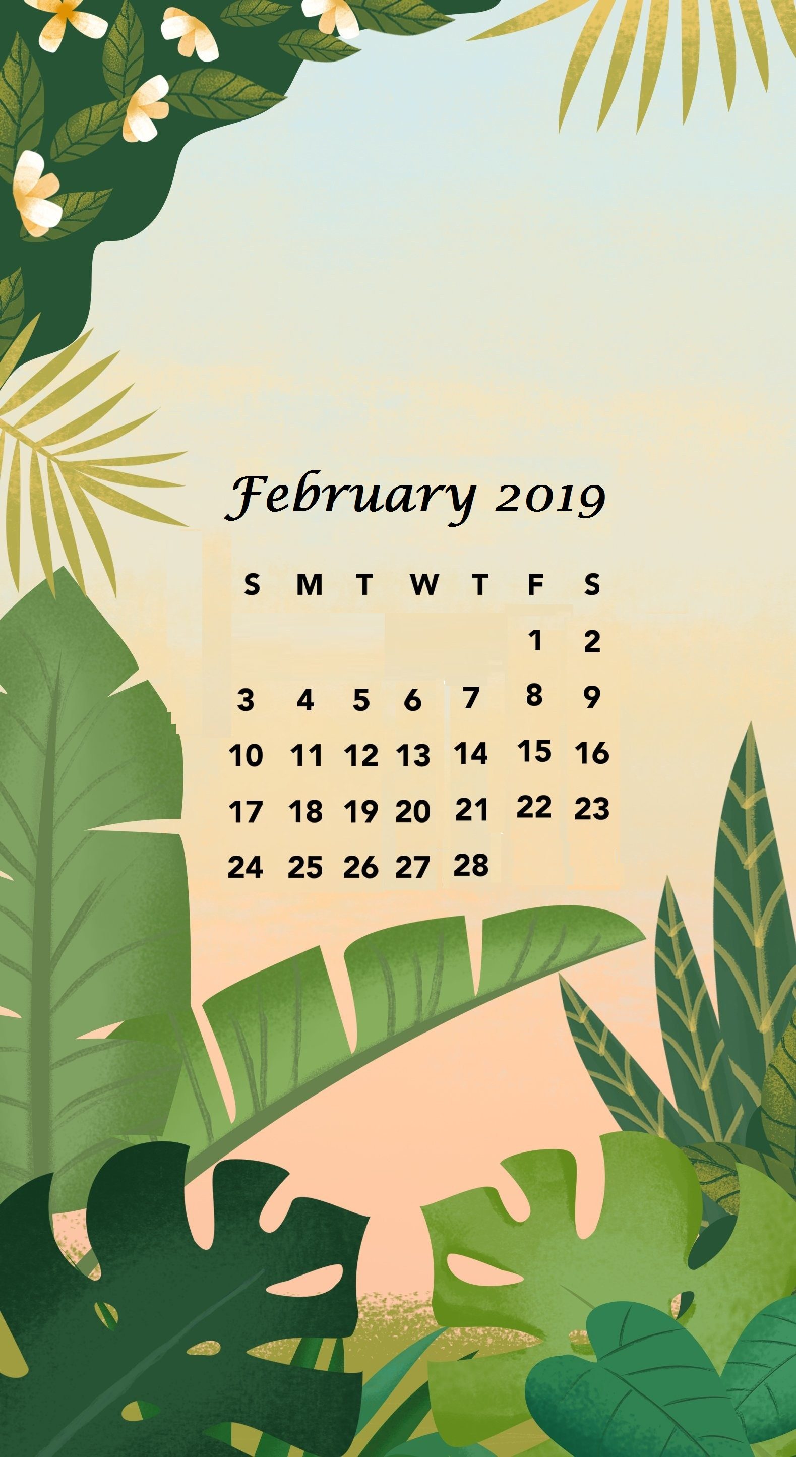 February 2019 Greeny iPhone Calendar