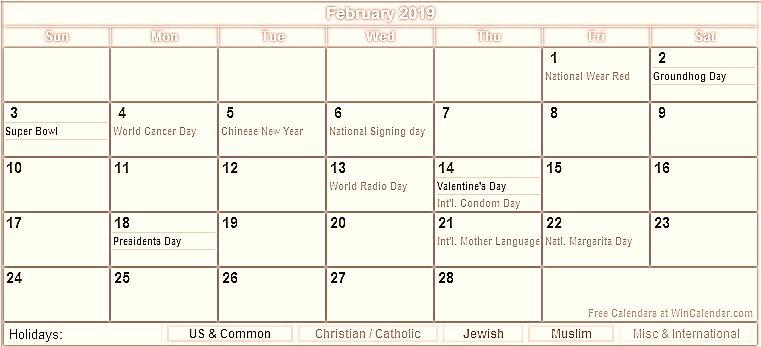 February 2019 Holidays Calendar