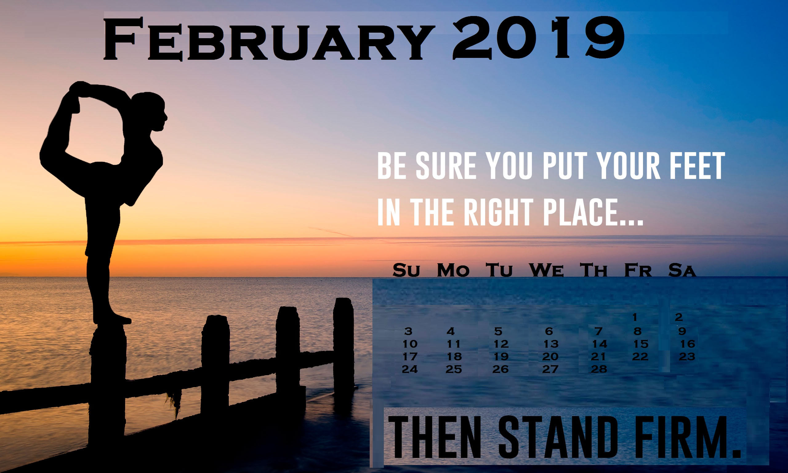 February 2019 Motivational Desktop Calendar