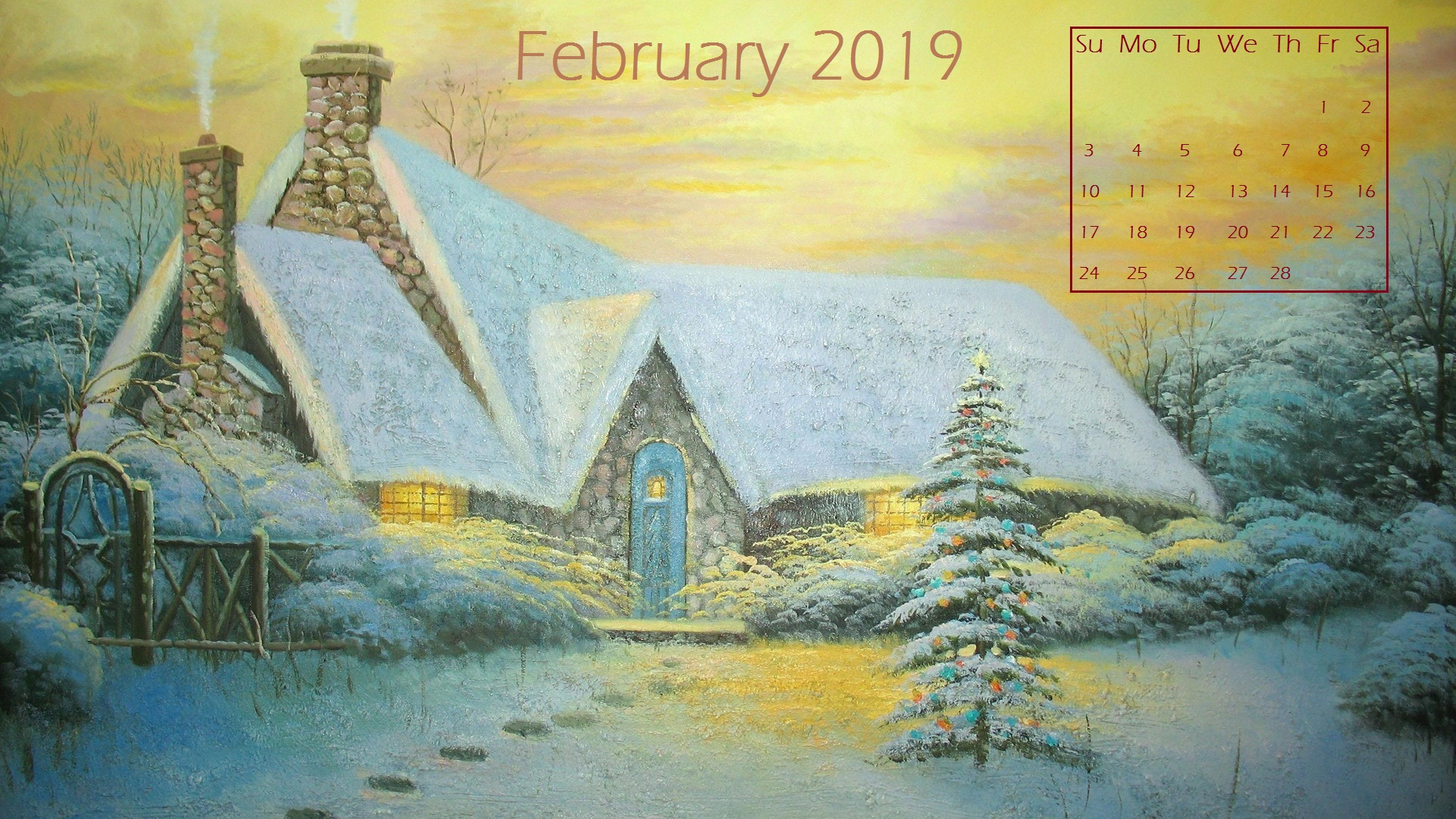 February 2019 Snow Desktop Calendar wallpaper
