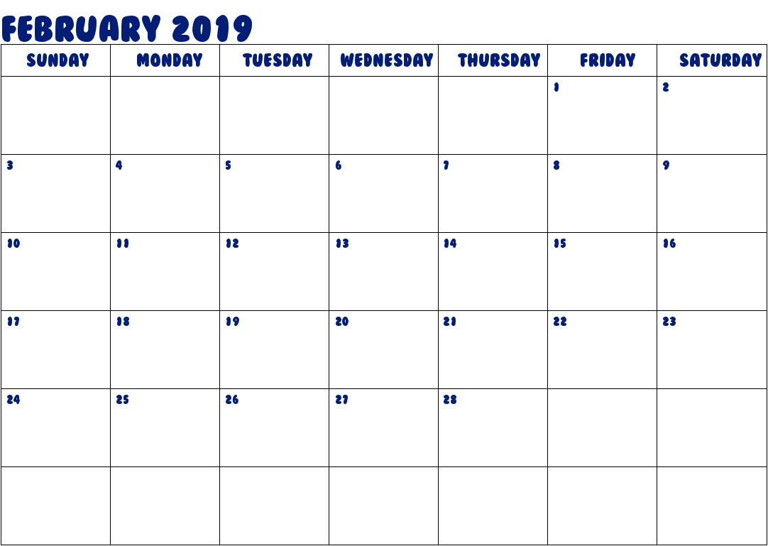 February Calendar 2019 with Holidays