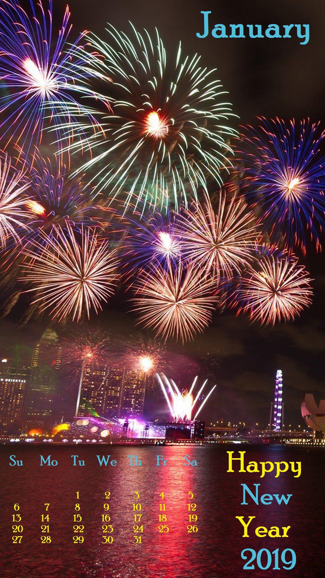 Fireworks January 2019 iPhone Calendar Wallpaper