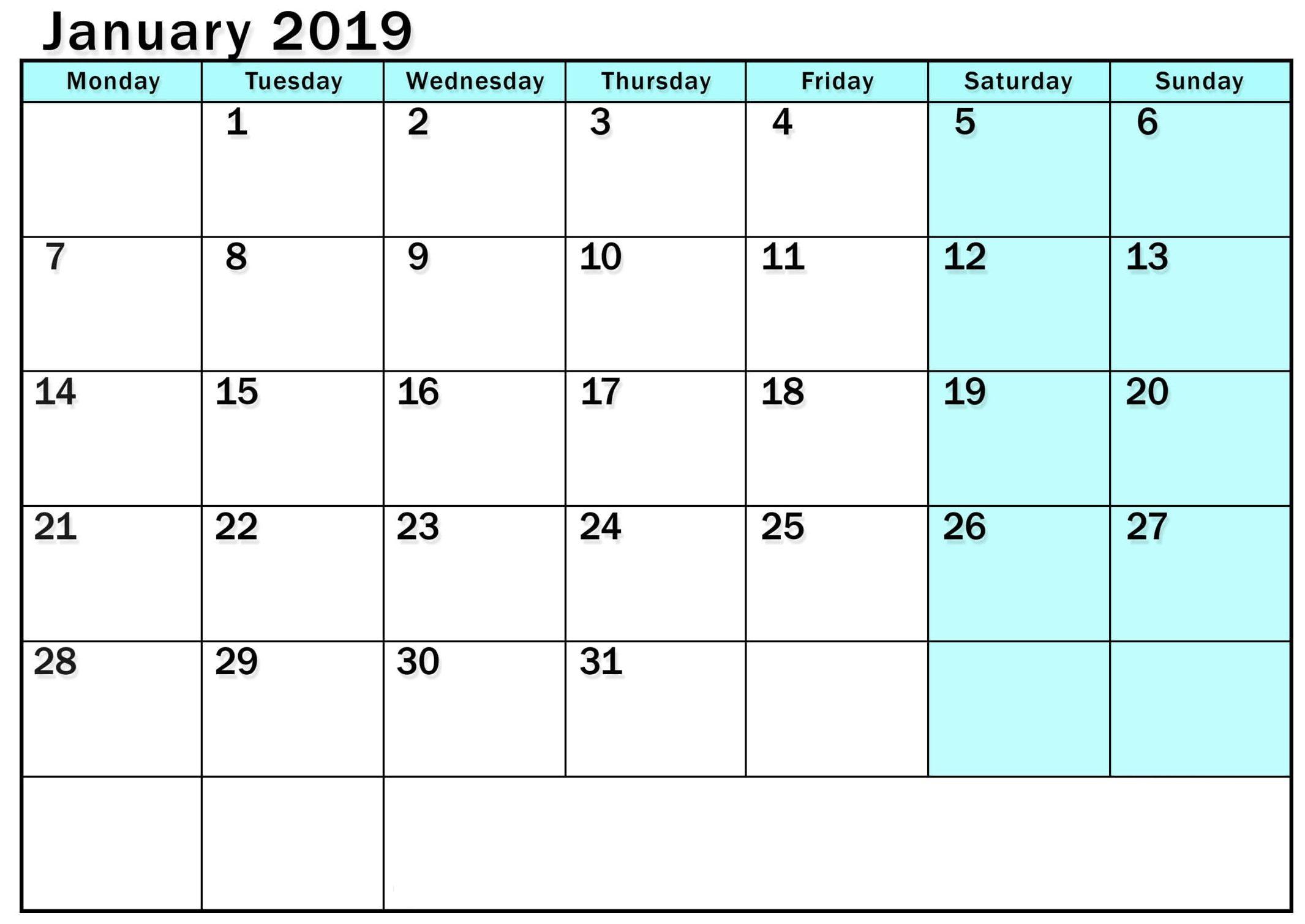 Free Blank January 2019 Calendar
