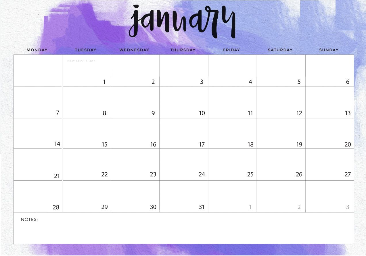 Free Editable January 2019 Calendar