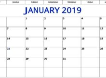Free Printable January 2019 Calendar Template