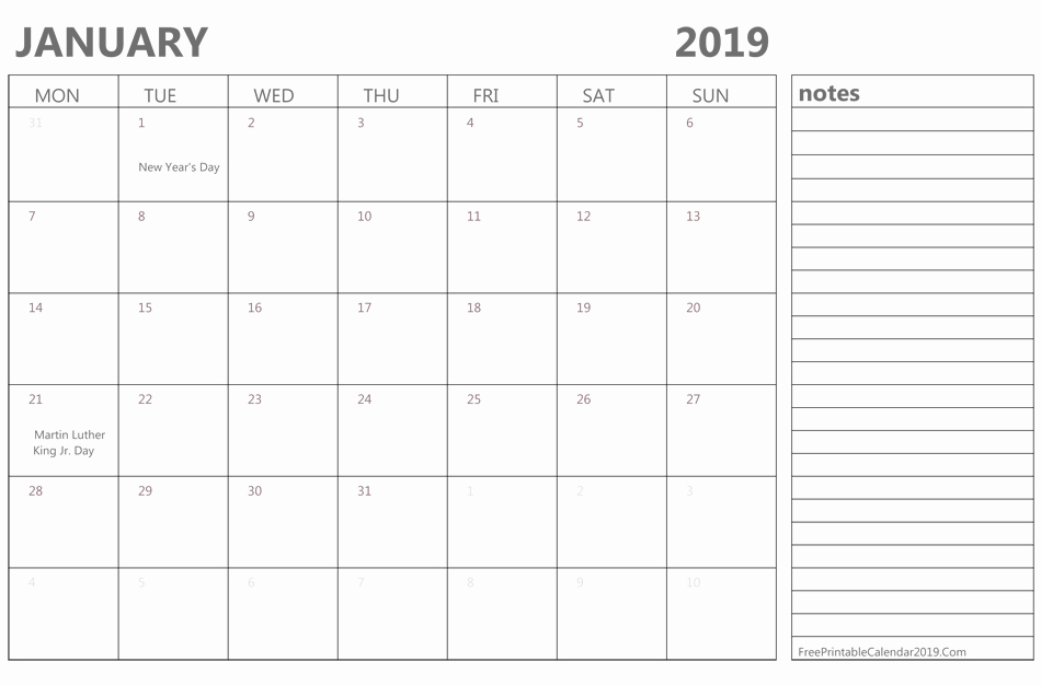 Full Page January 2019 Calendar