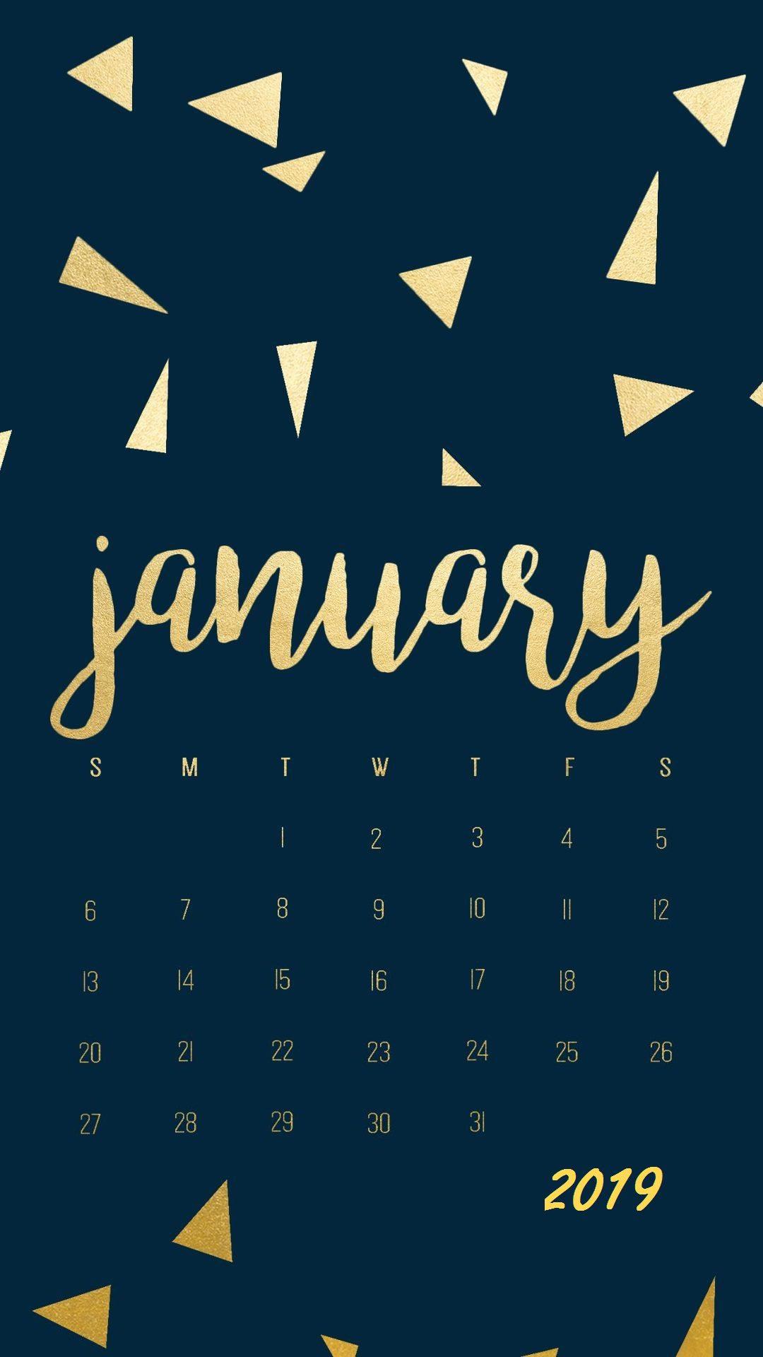 Golden Stones January 2019 iPhone Calendar