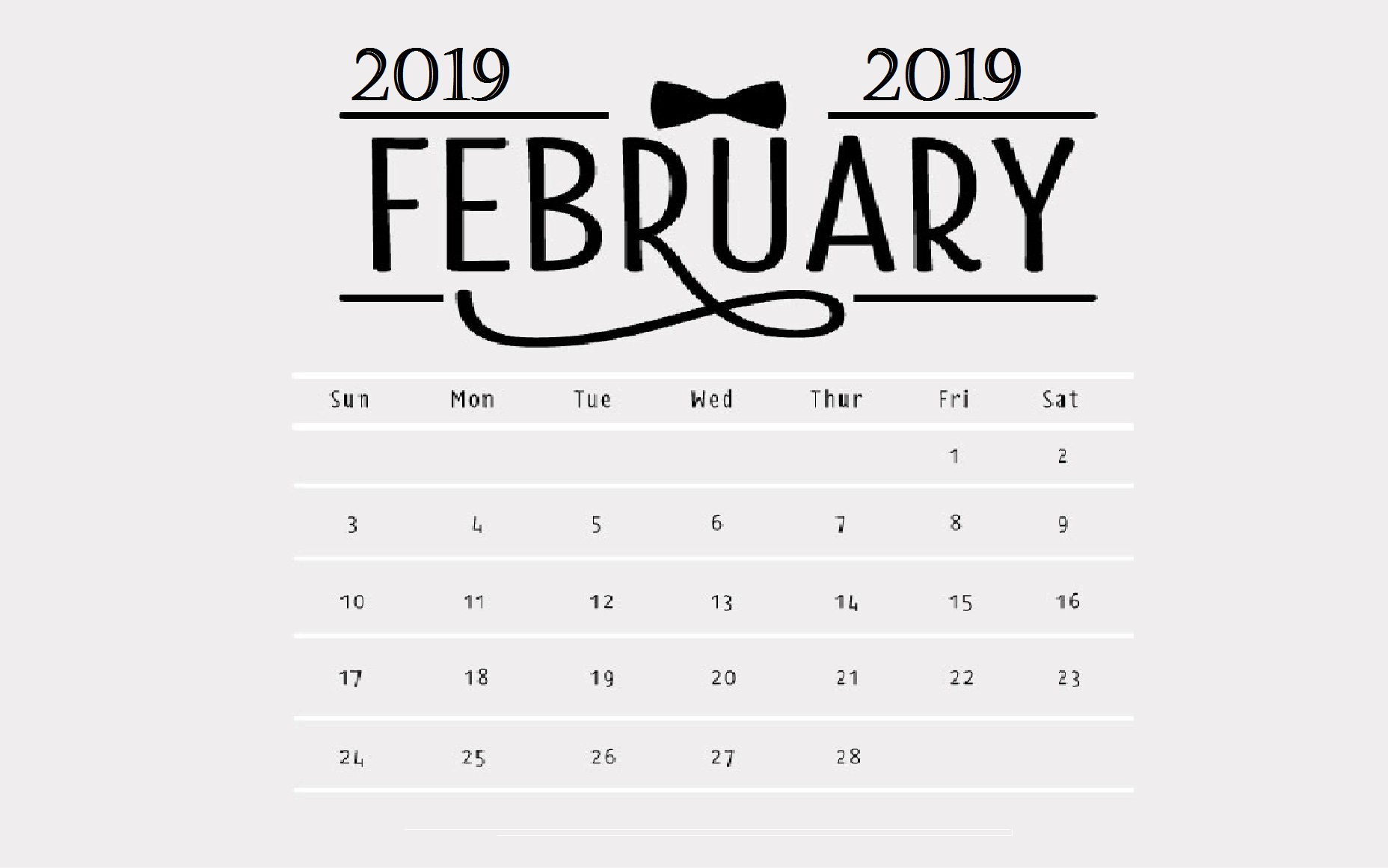 Grayish February 2019 Desktop Calendar