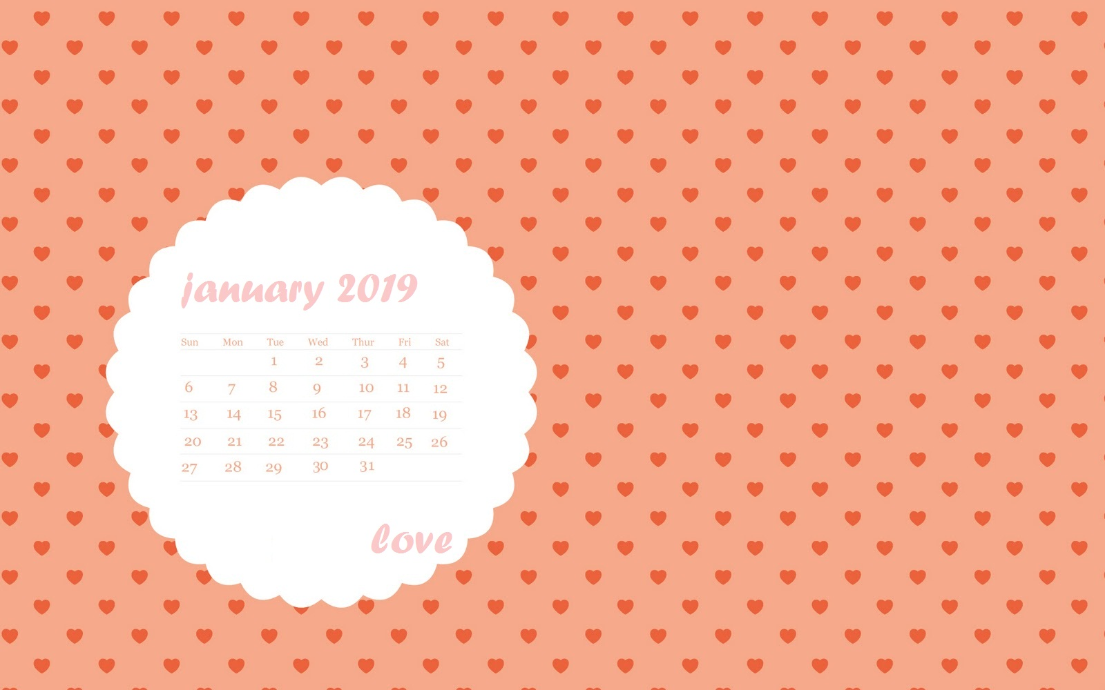 Heart Love January 2019 Desktop Calendar