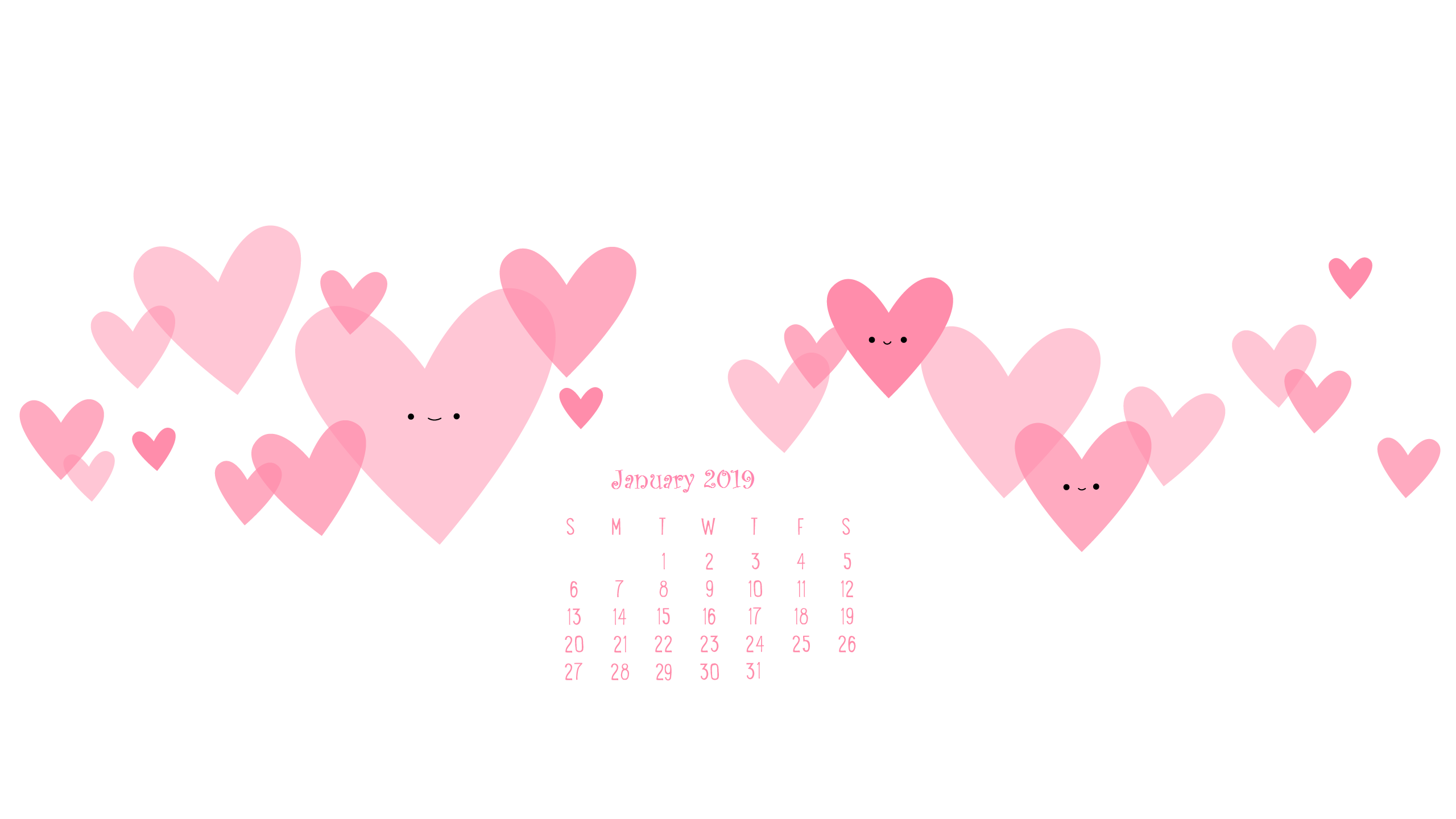 Heart Pink January 2019 Desktop Calendar