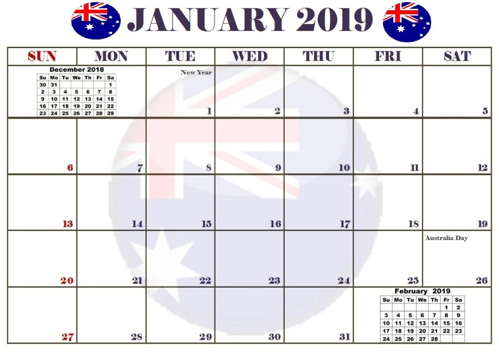 January 2019 Australia Calendar With Holidays