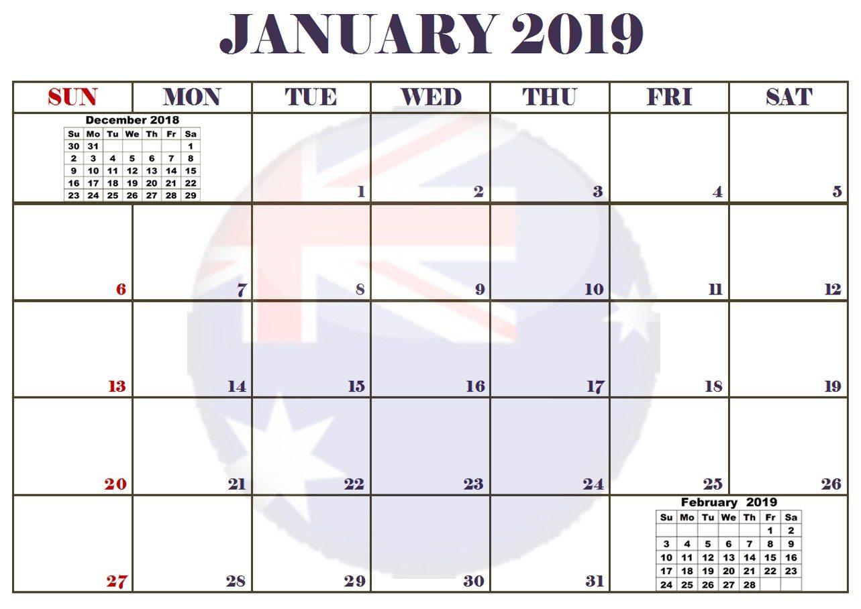 January 2019 Australia Editable Calendar