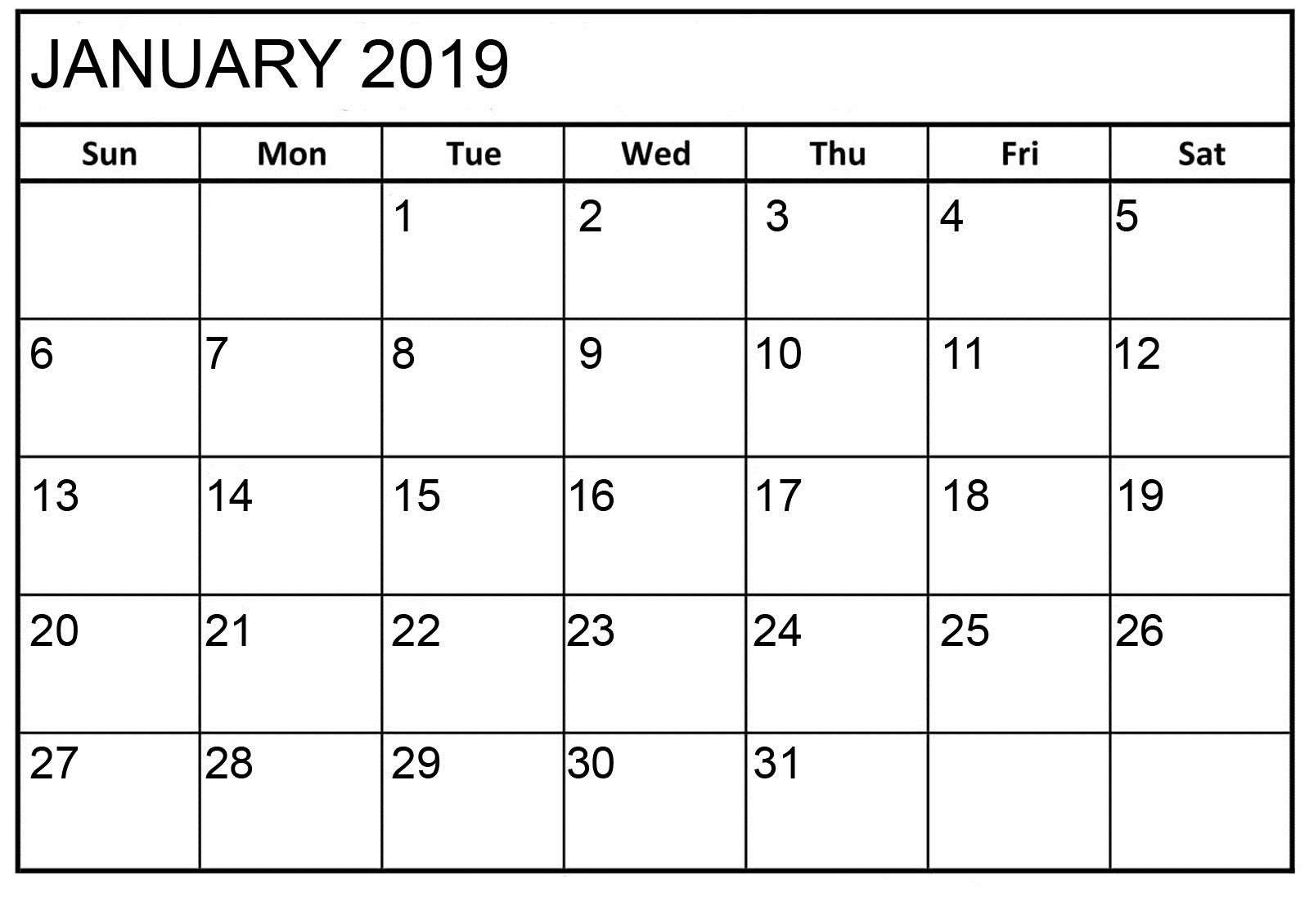 January 2019 Basic Editable Calendar
