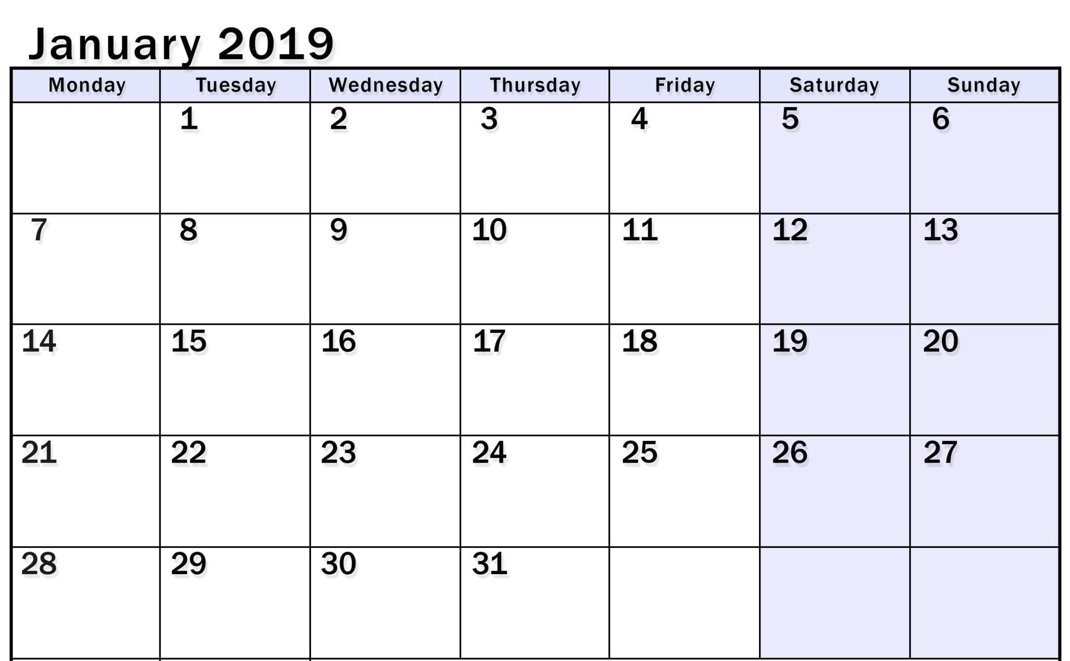January 2019 Blank Calendar Word