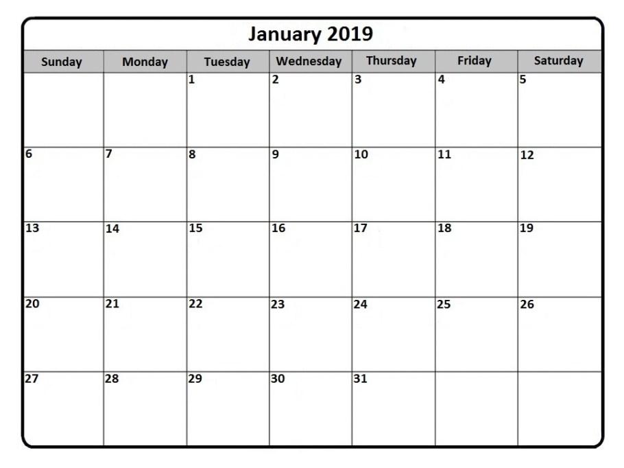 January 2019 Blank Calendar to Print