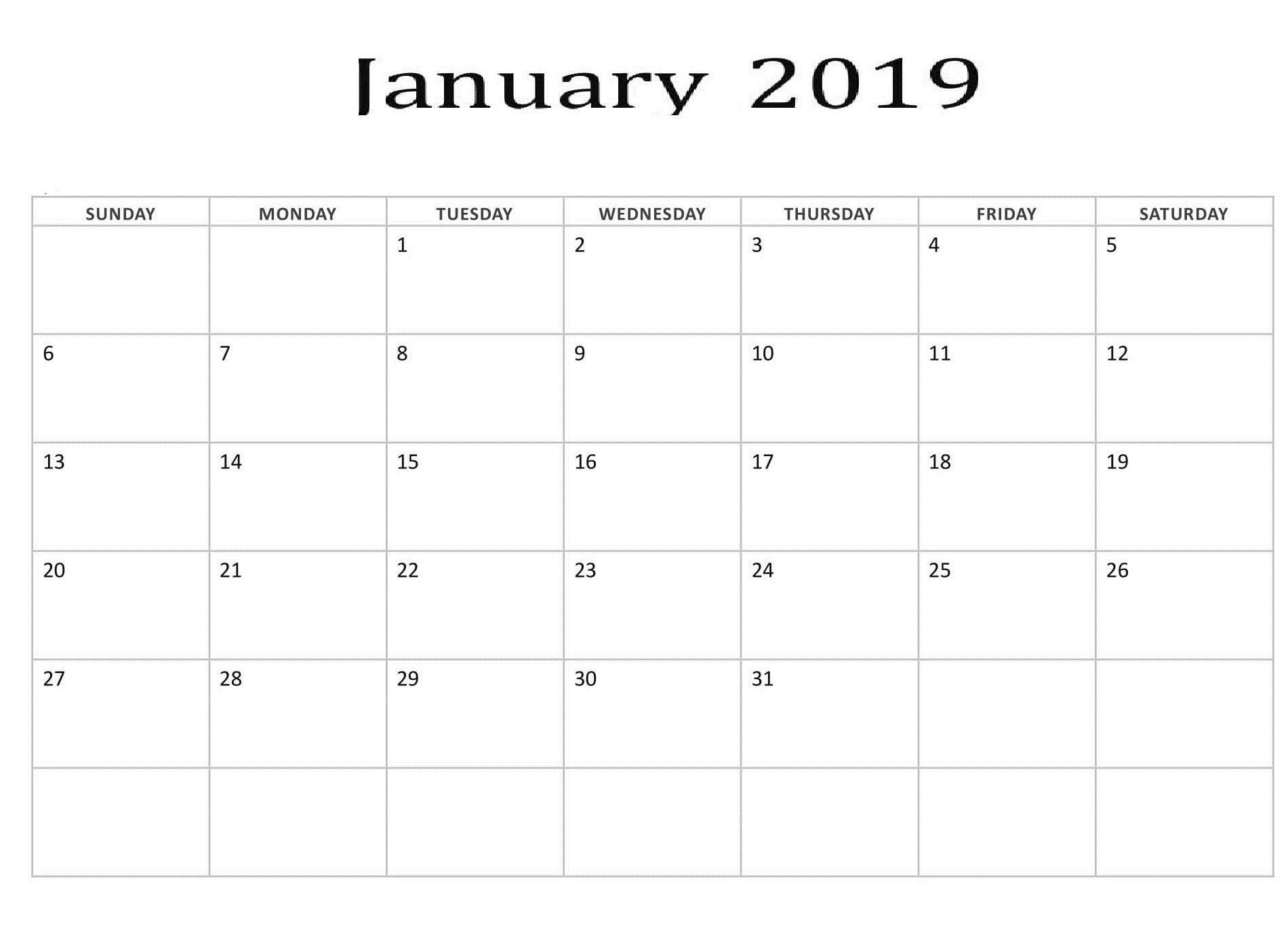 January 2019 Blank Template