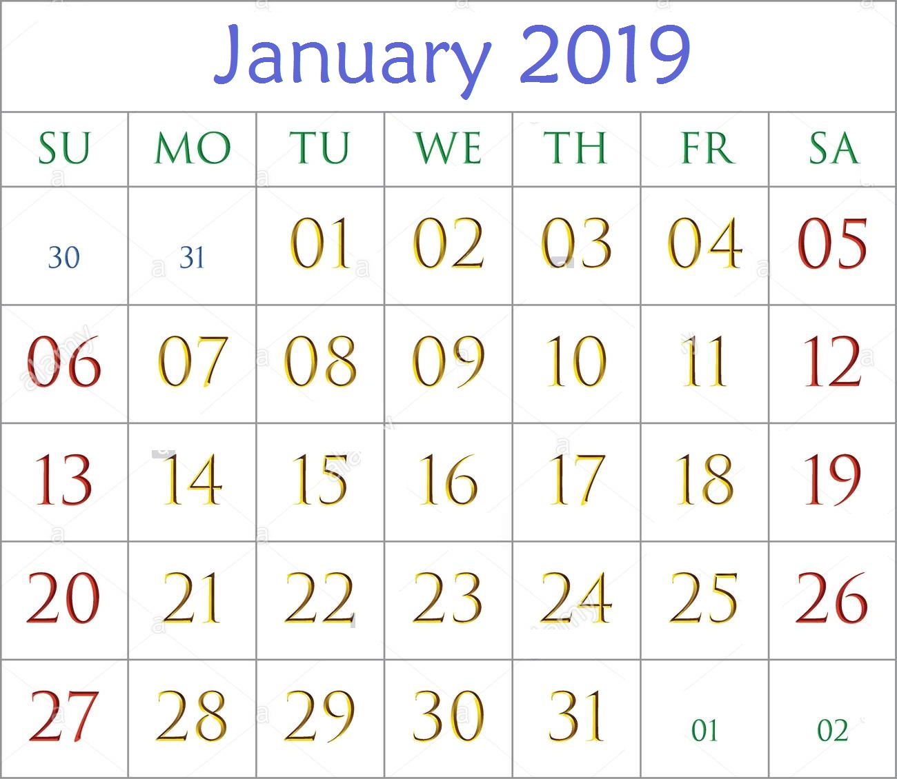 January 2019 Bold Editable Calendar