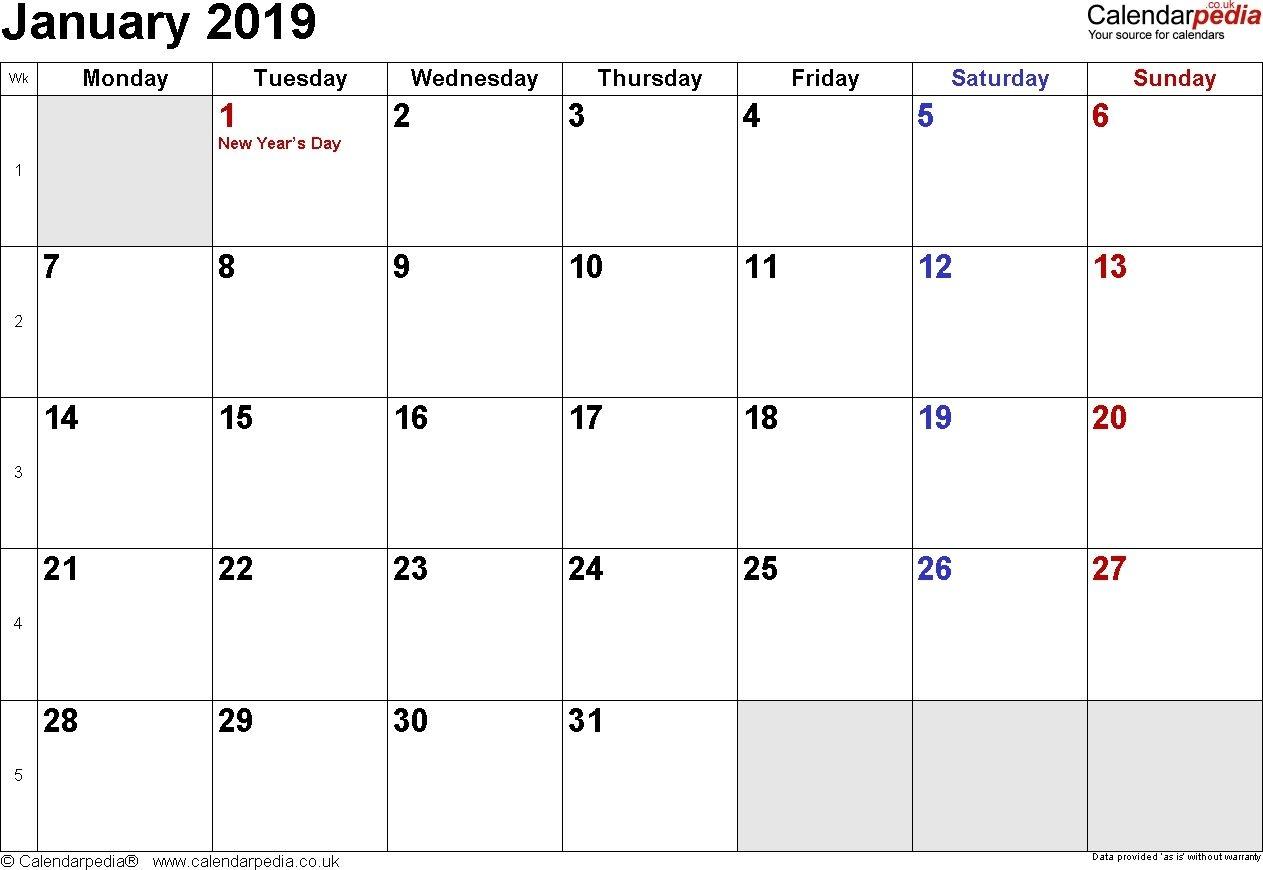 January 2019 Calendar Australia Printable