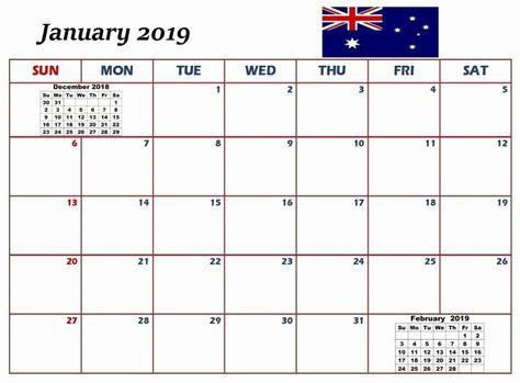 January 2019 Calendar Australia