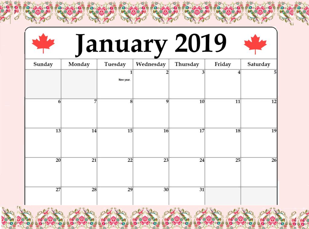 january 2019 calendar canada printable with holidays
